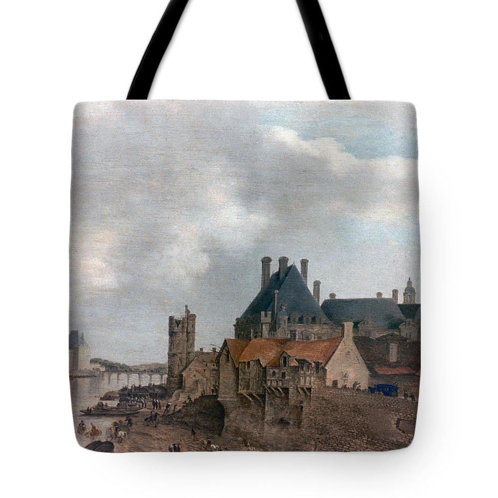 1637 Tote Bag featuring the photograph Paris: Pont Neuf, 1637 by Granger