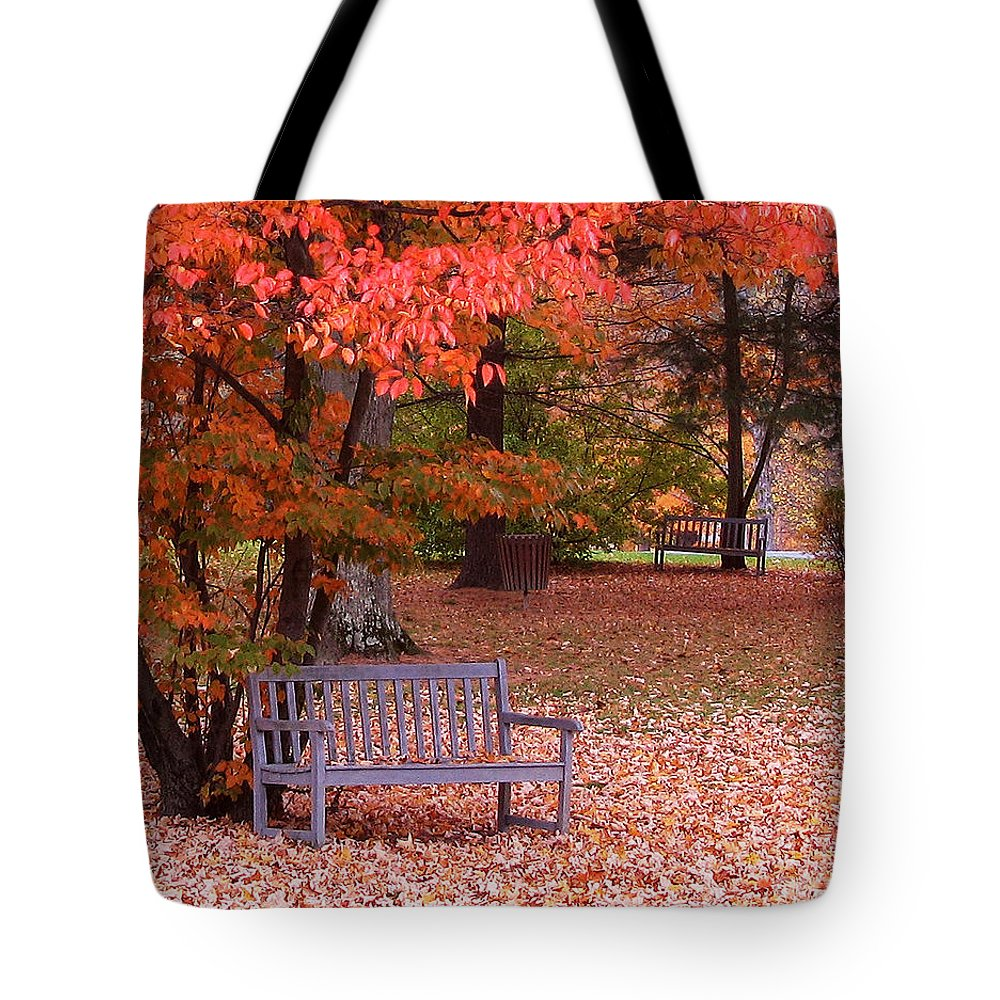 Park Bench Tote Bag featuring the photograph Park Bench In Fall by Jack Schultz