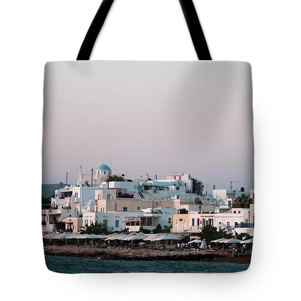 Paros Island Tote Bag featuring the photograph Paros Panorama by Lorraine Devon Wilke