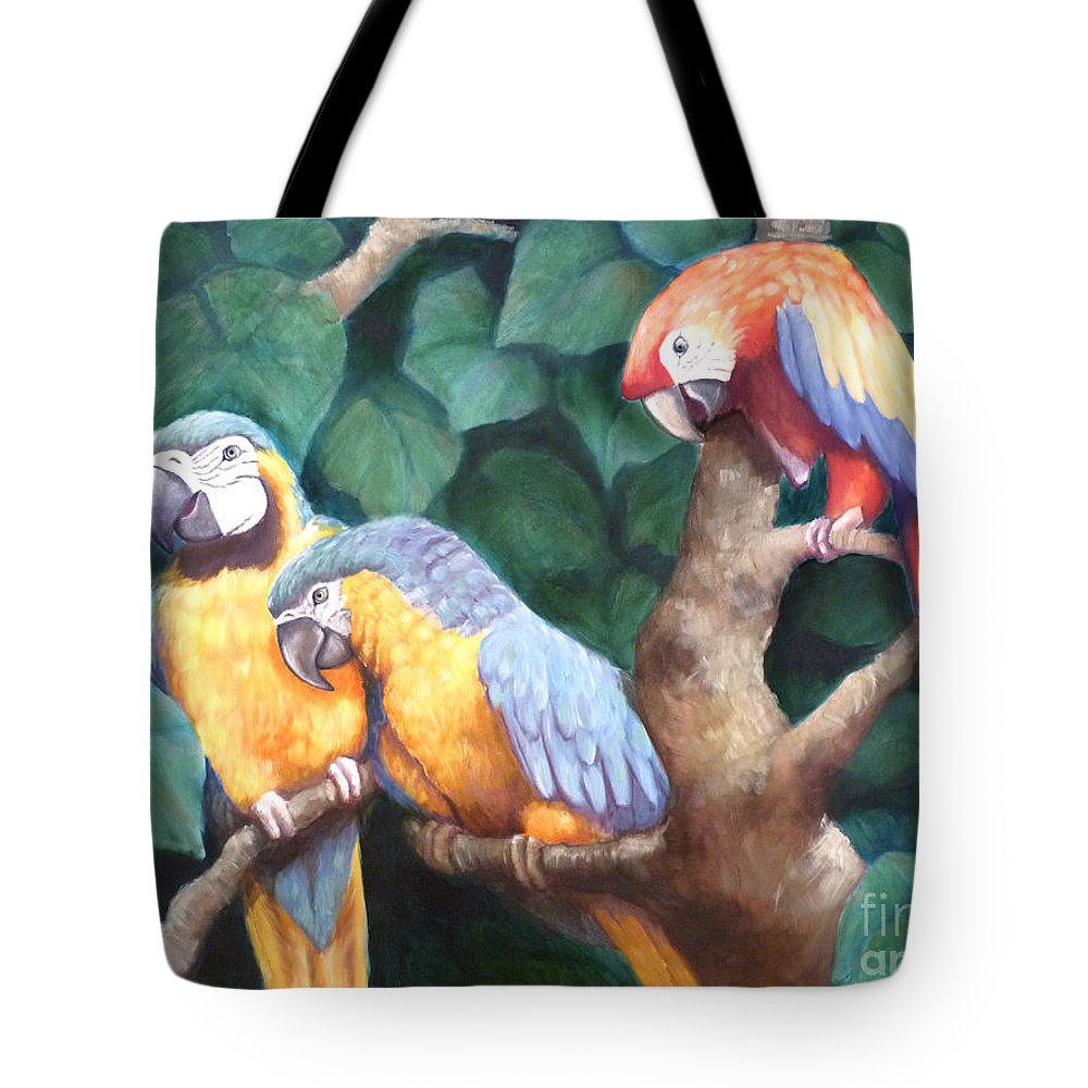 Parrots Tote Bag featuring the painting Parrot Painting by Audrey Peaty