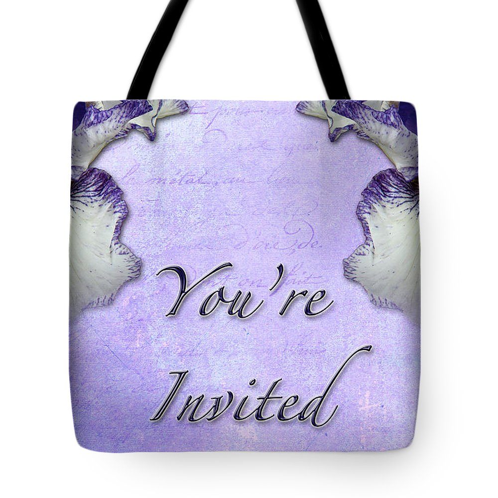Invitation Tote Bag featuring the photograph Party Invitation - General - Wild Iris - Blue Flag by Mother Nature