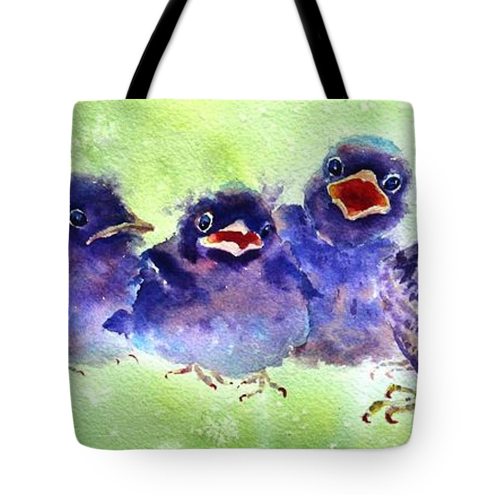 Baby Birds Tote Bag featuring the painting Party Of Five by Ruth Kamenev