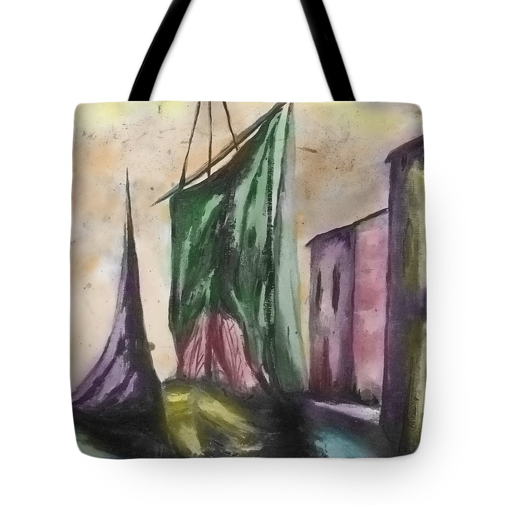 Sail Boat Tote Bag featuring the photograph Passing By by Kristie Bonnewell