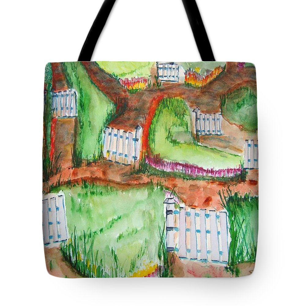 Gates Tote Bag featuring the painting Path Of Life by Elaine Duras