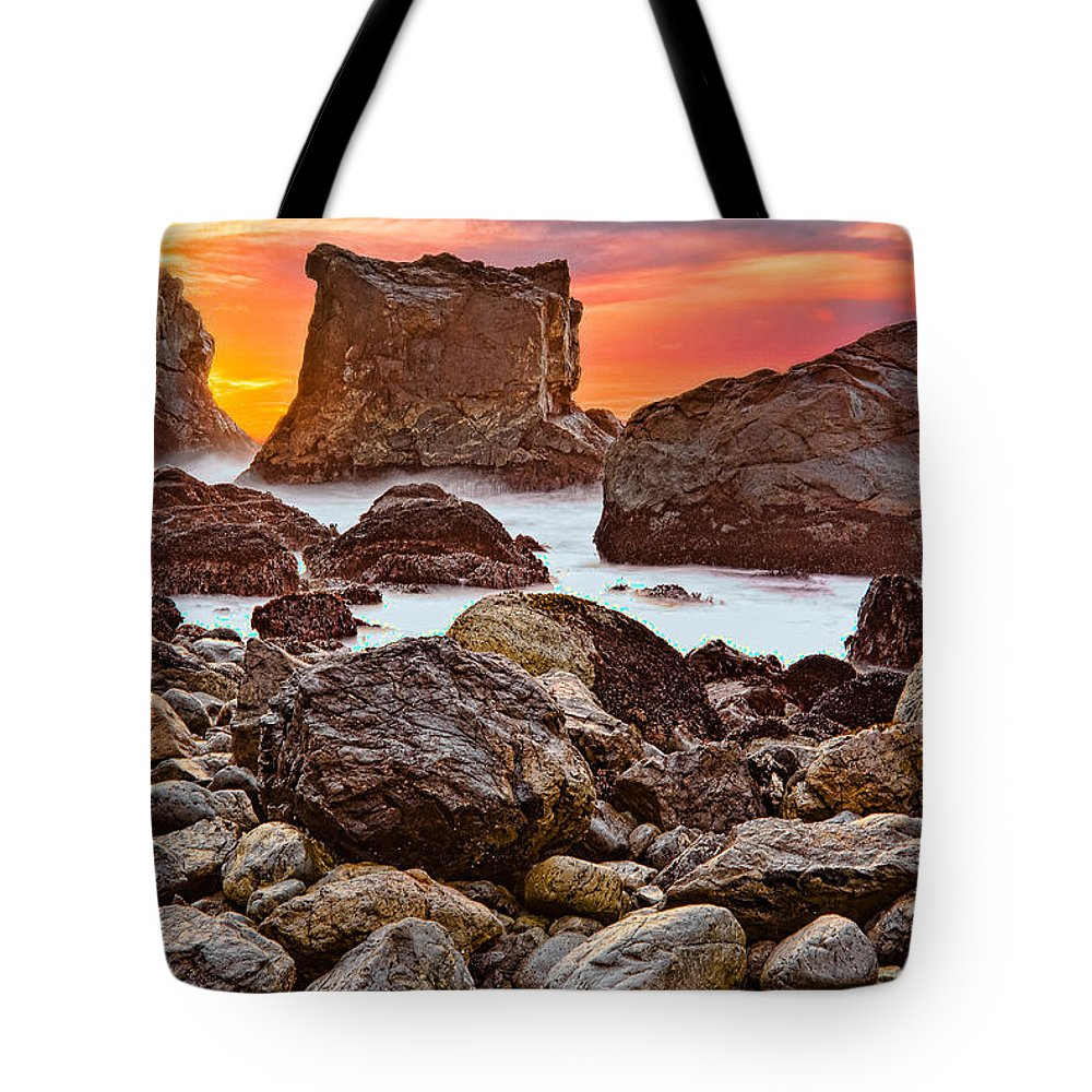 Patrick's Point State Park Tote Bag featuring the photograph Patrick's Point Sunset Seastacks by Greg Nyquist