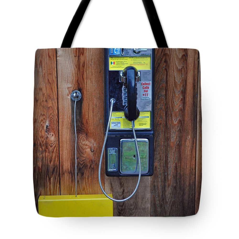 Pay Phone Tote Bag featuring the photograph Pay Phone And Book Wooden And Yellow by Bruce Gourley