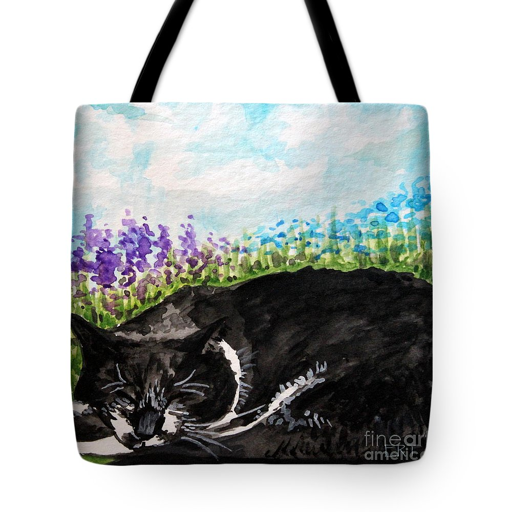 Cat Tote Bag featuring the painting Peaceful Slumber by Elizabeth Robinette Tyndall