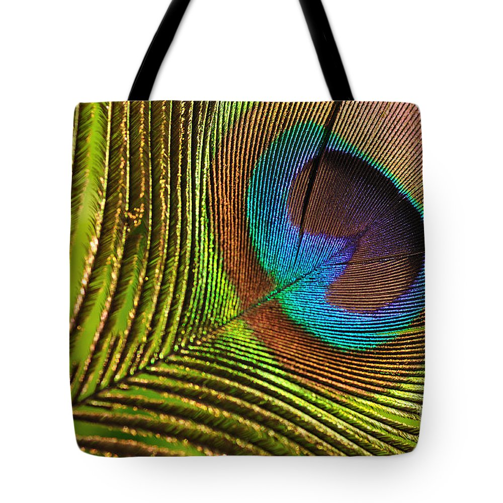 Photography Tote Bag featuring the photograph Peacock Feather by Kaye Menner