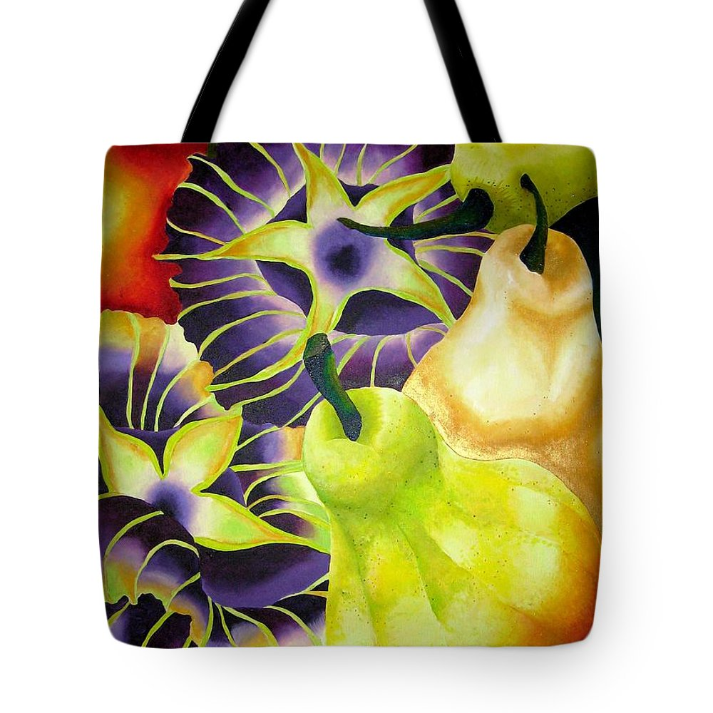 Pears Tote Bag featuring the painting Pear by Elizabeth Elequin
