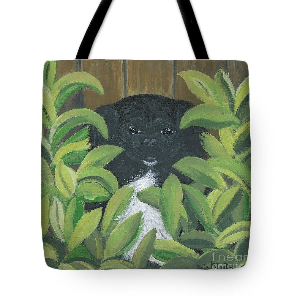 Pekingese Tote Bag featuring the painting Peek A Peke by Ania M Milo