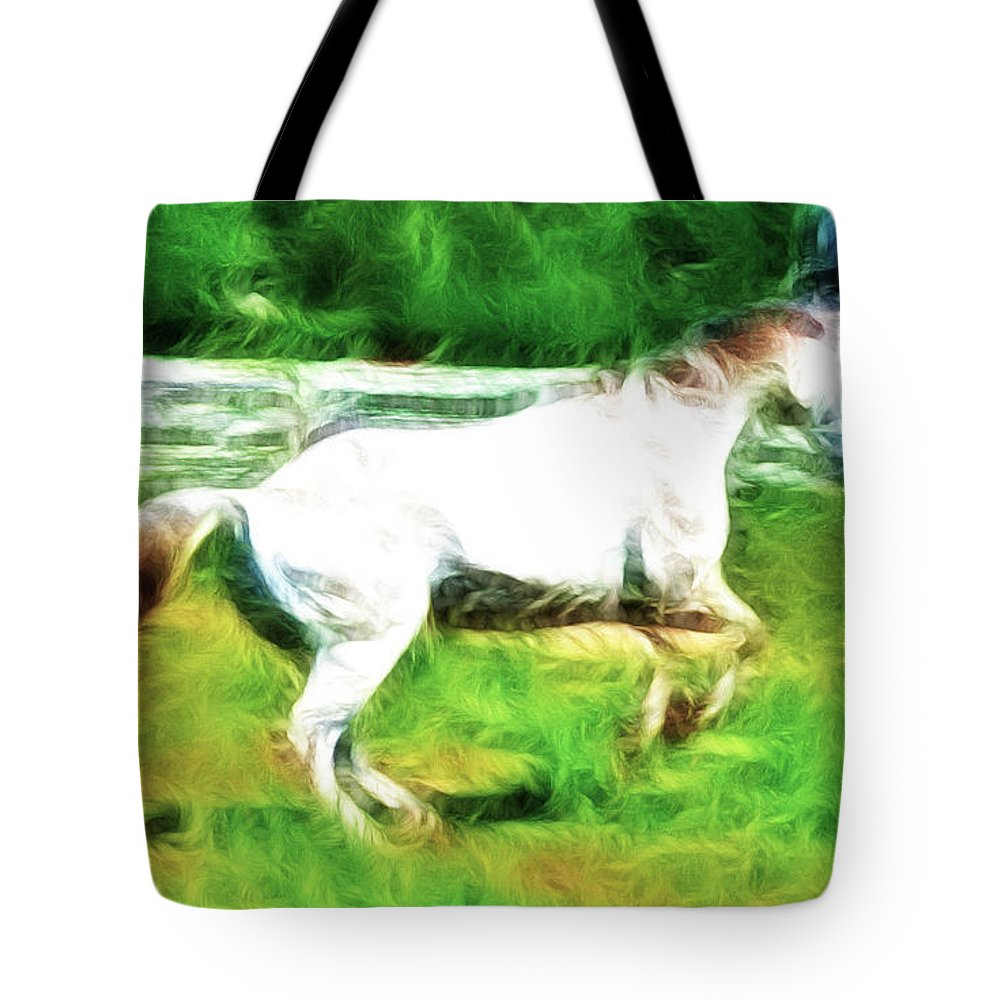 White Horse Tote Bag featuring the photograph Pegasus Impression by Paul Ward