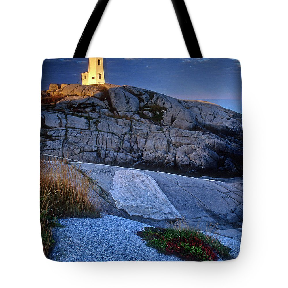 Lighthouse Tote Bag featuring the photograph Peggys Cove Lighthouse Nova Scotia by Dave Mills