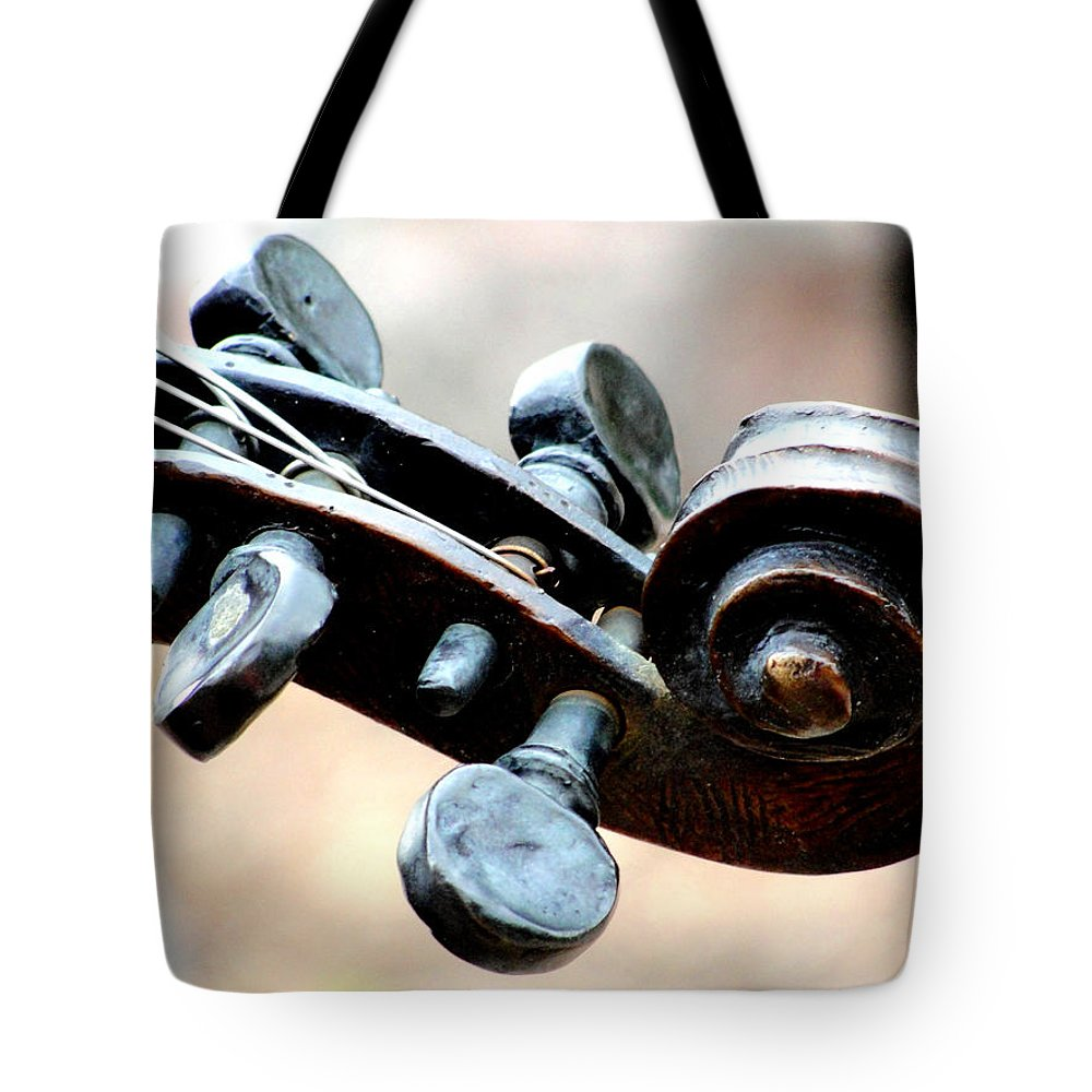Violin Tote Bag featuring the photograph Pegs And Scroll by Charlie and Norma Brock