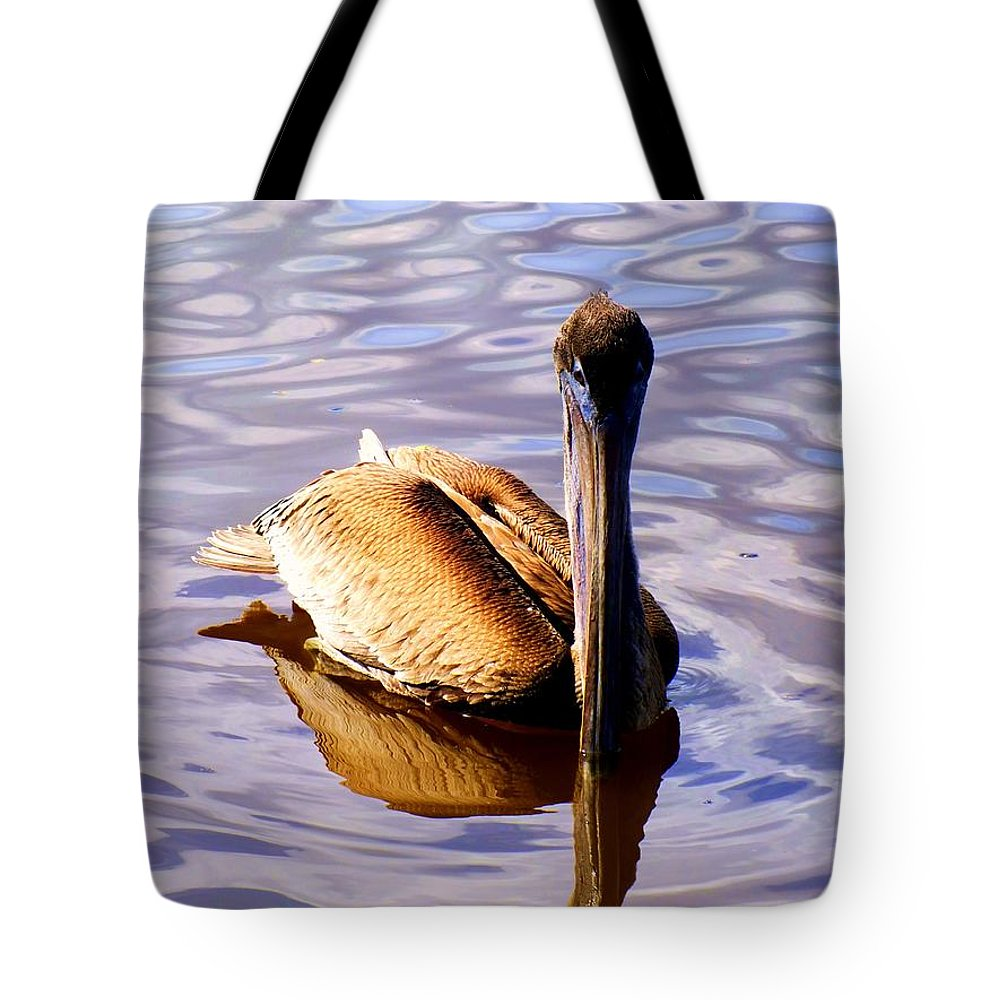 Birds Tote Bag featuring the photograph Pelican Puddles by Karen Wiles