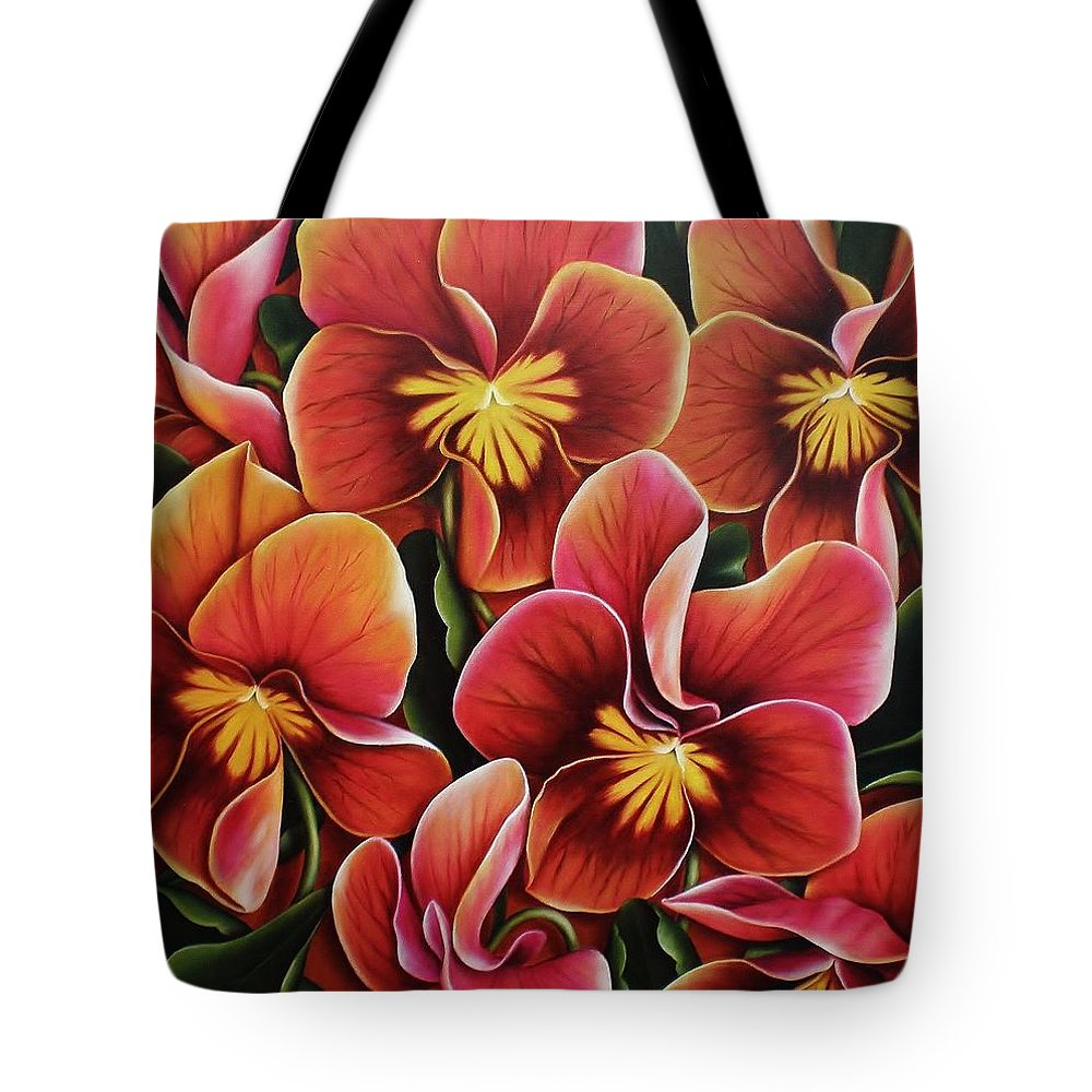 Pansies Tote Bag featuring the painting Perfect Love by Paula Ludovino