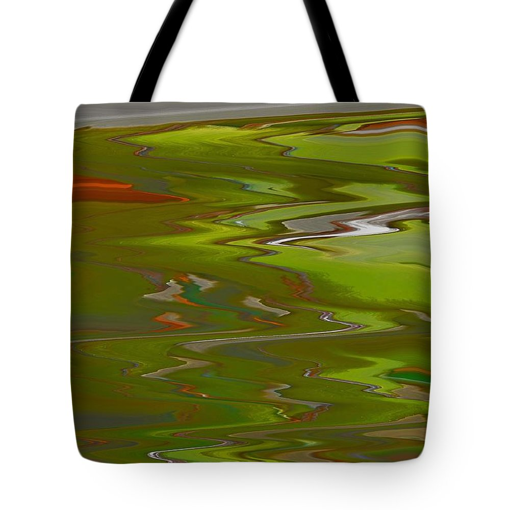 Abstract Tote Bag featuring the digital art Perspective by Lenore Senior