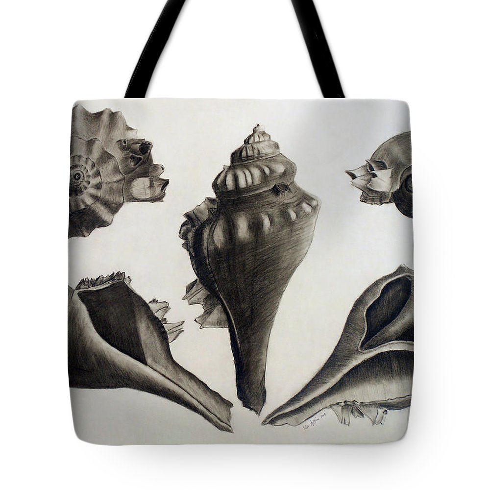 Shell Tote Bag featuring the drawing Perspectives Of A Shell by Nur Adlina