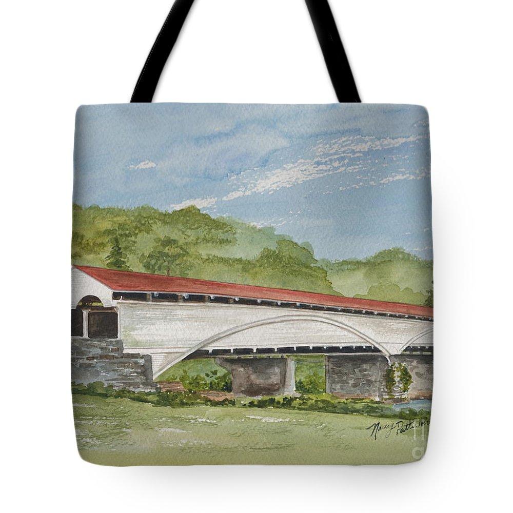 Philippi Covered Bridge Tote Bag featuring the painting Philippi Covered Bridge by Nancy Patterson