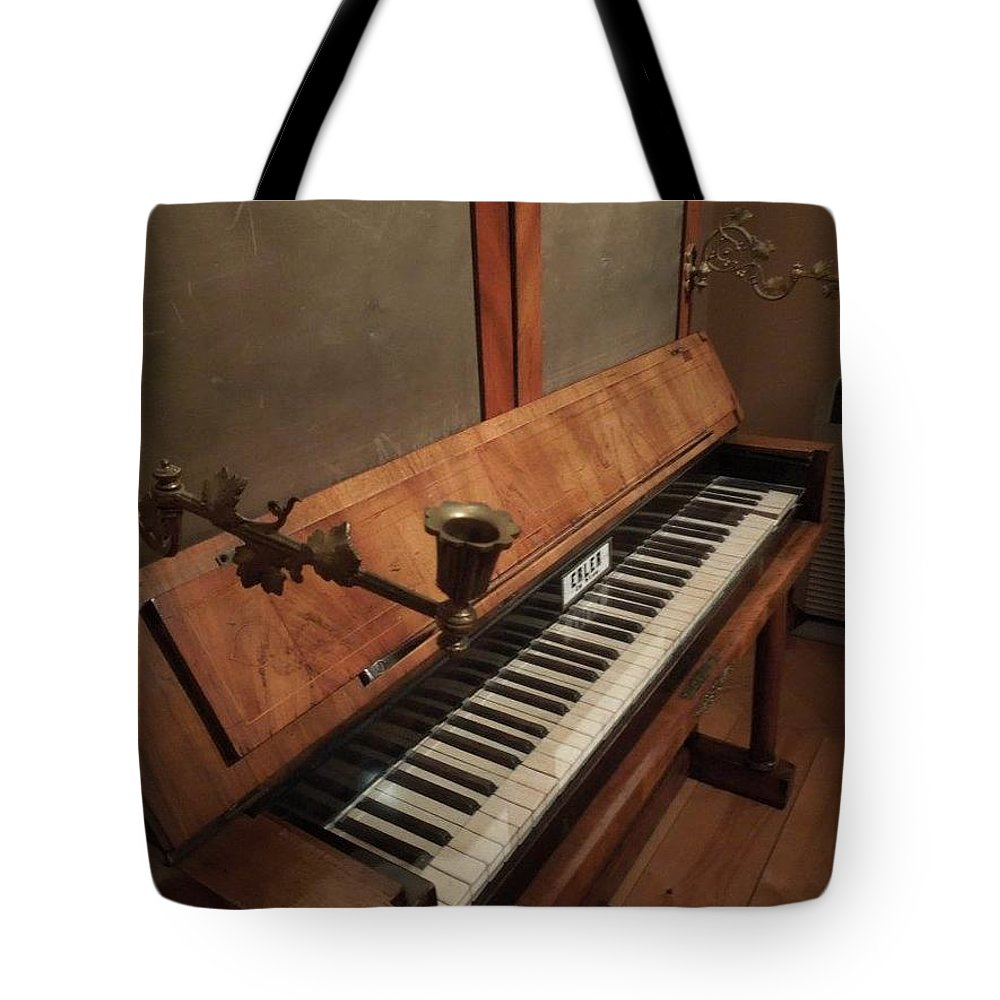 Piano Tote Bag featuring the photograph Piano Candelabra by Bobbie Moller