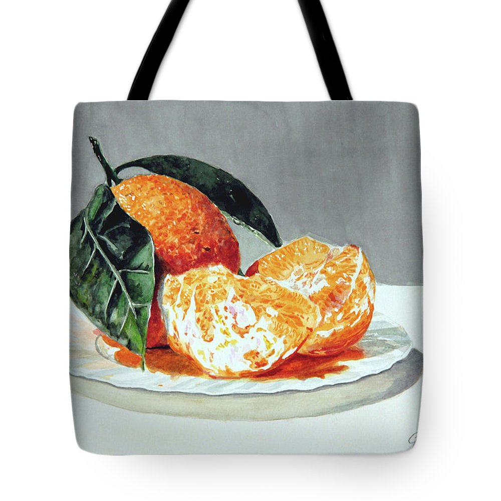 Still Life Tote Bag featuring the painting Piatto Con Arance by Giovanni Marco Sassu