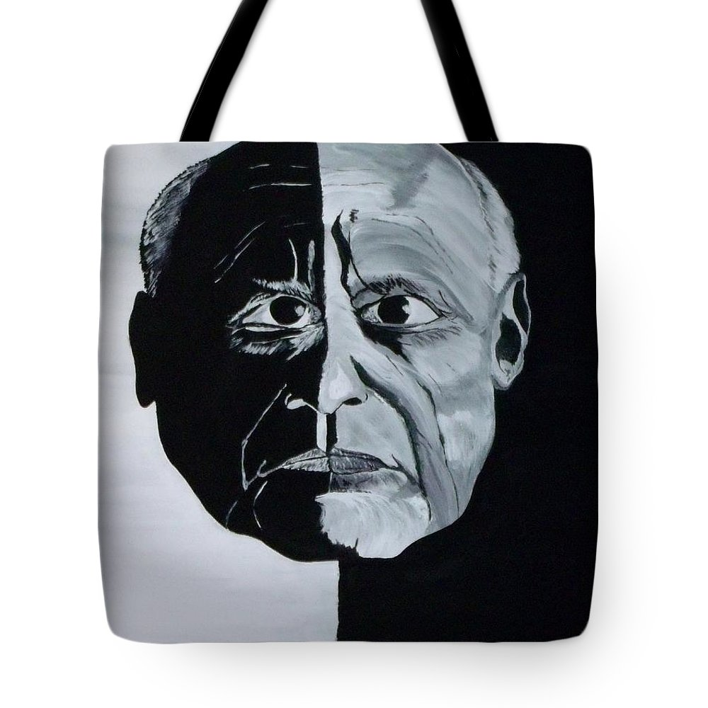 Portrait Tote Bag featuring the painting Picasso by Mark Moore