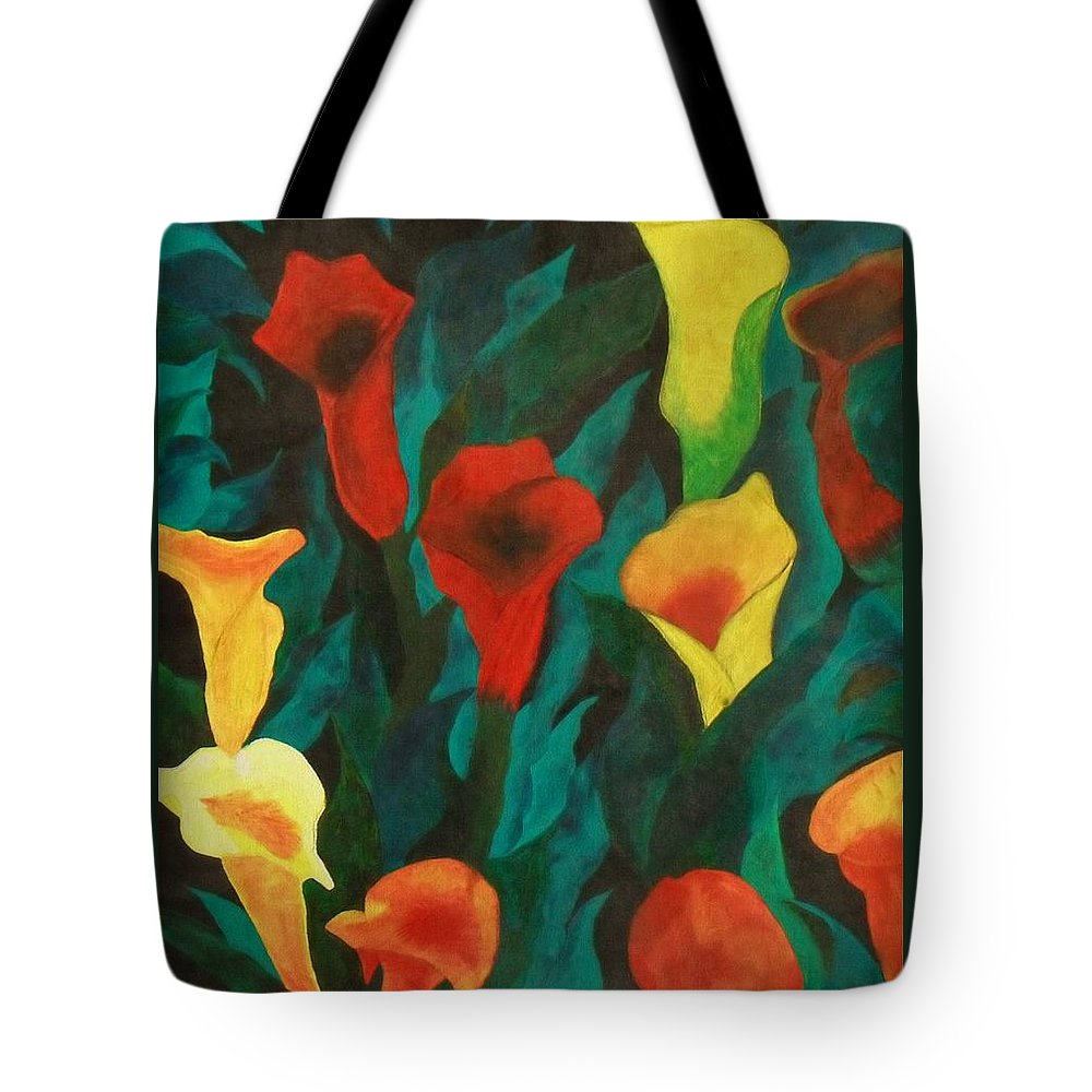 Flowers Tote Bag featuring the painting Picture Of Lily's by Paul F Labarbera