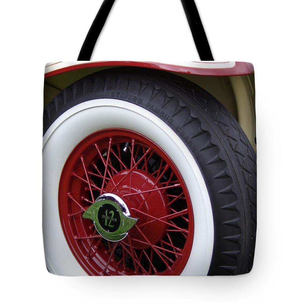Pierce Arrow Tote Bag featuring the photograph Pierce Arrow Wheel by Jim And Emily Bush