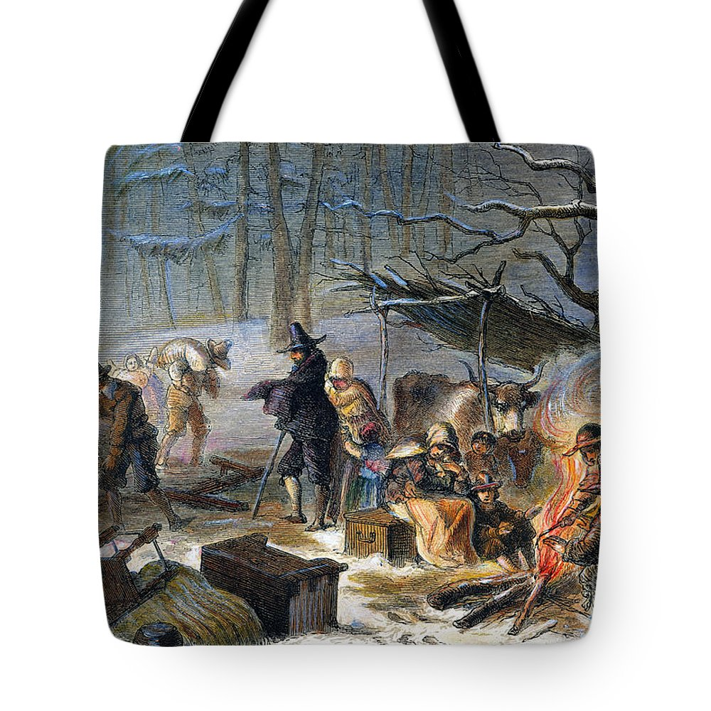 1620 Tote Bag featuring the photograph Pilgrims: First Winter, 1620 by Granger