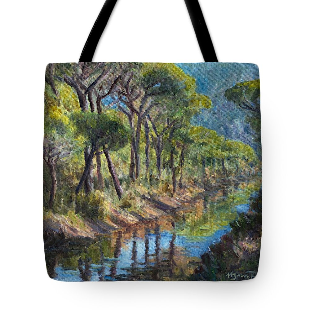 Pine Tree Mediterranean Wood Tuscany Maremma Canal Italy Tote Bag featuring the painting Pine Wood Reflections by Marco Busoni