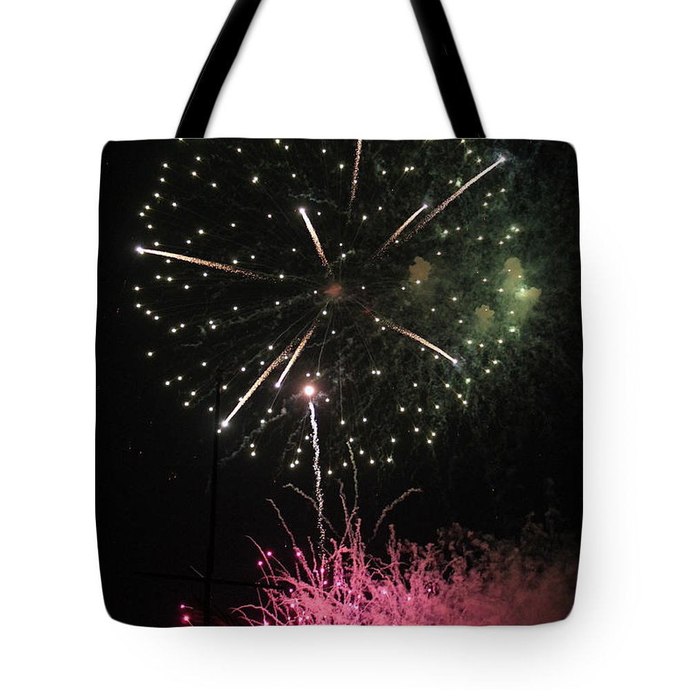 Fireworks Tote Bag featuring the photograph Pink And Green Delight by Suzanne Gaff