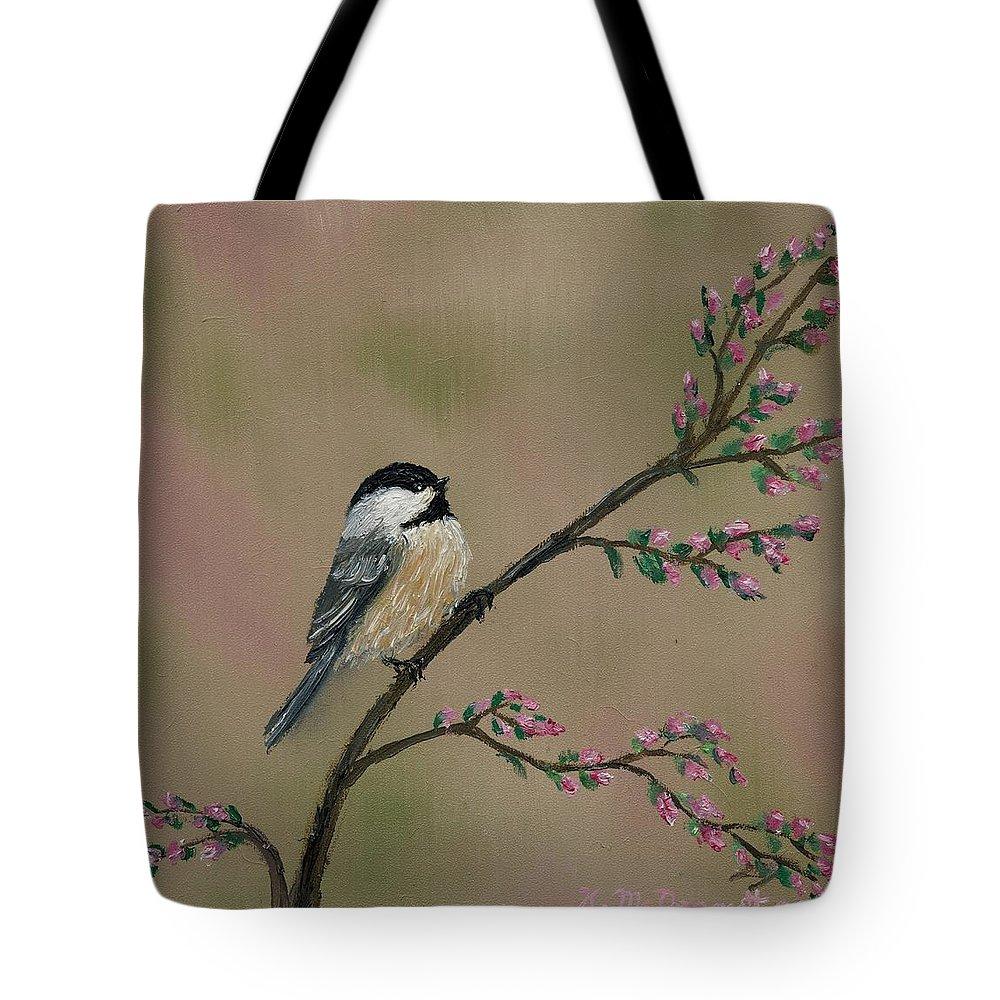 Chickadee Tote Bag featuring the painting Pink Bud Chickadees - Bird 1 by Kathleen McDermott