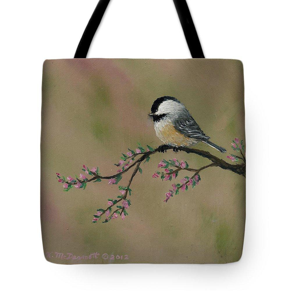 Chickadee Tote Bag featuring the painting Pink Bud Chickadees - Bird 2 by Kathleen McDermott