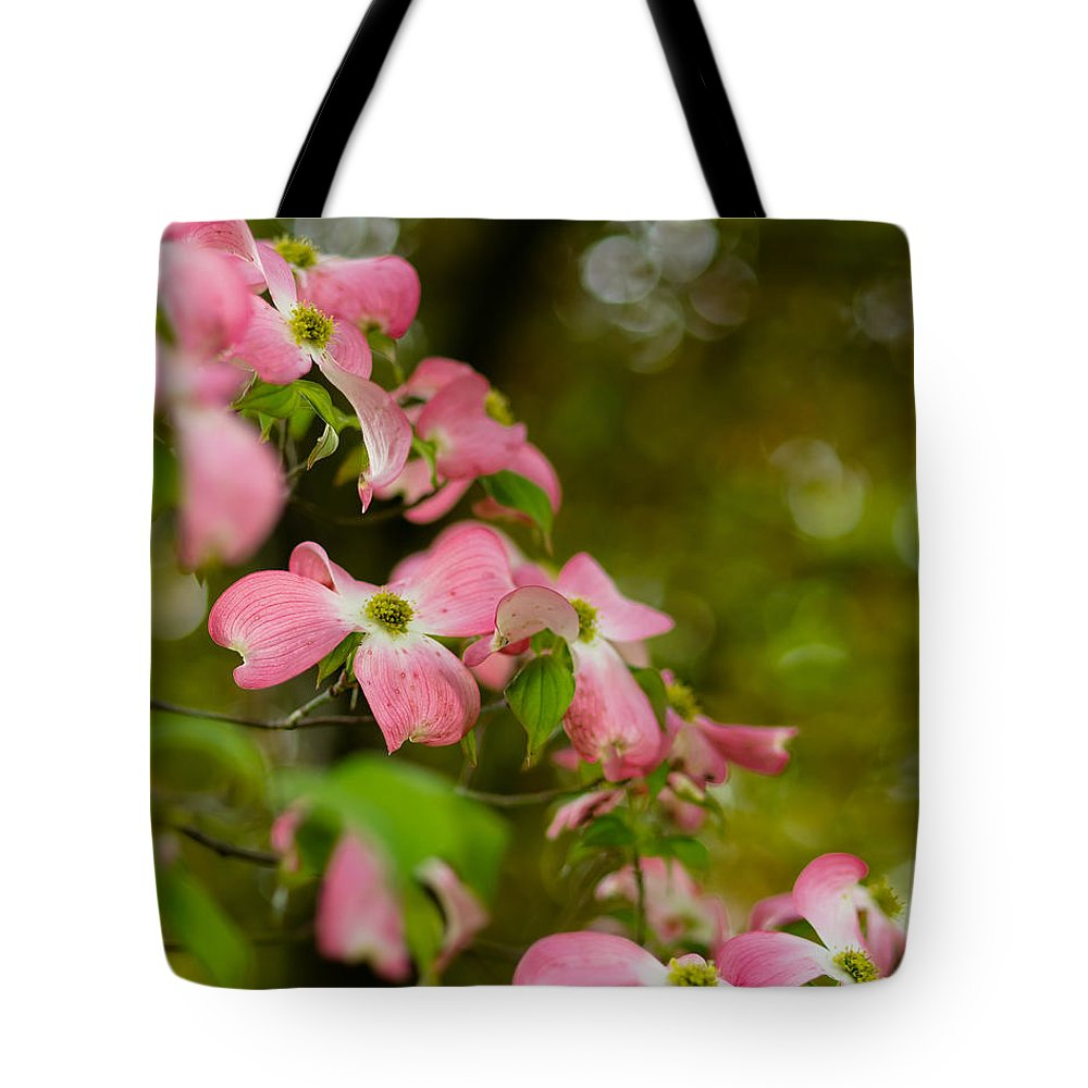 Blooms Tote Bag featuring the photograph Pink Dogwood Blooms by Lori Coleman