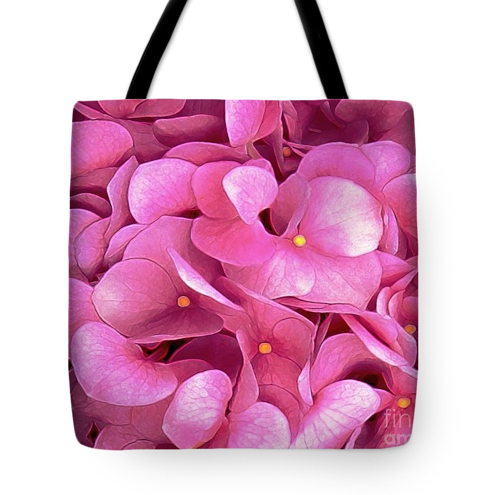 Flowers Tote Bag featuring the digital art Pink Hydrangeas by Dale  Ford
