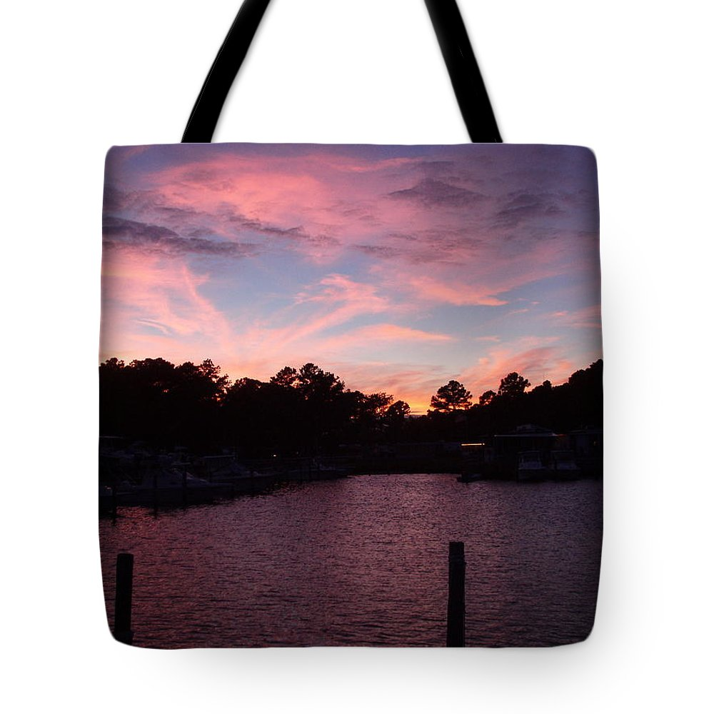 Pink Tote Bag featuring the photograph Pink N Blue Sunset On The Chesapeake Bay Va by Sven Migot