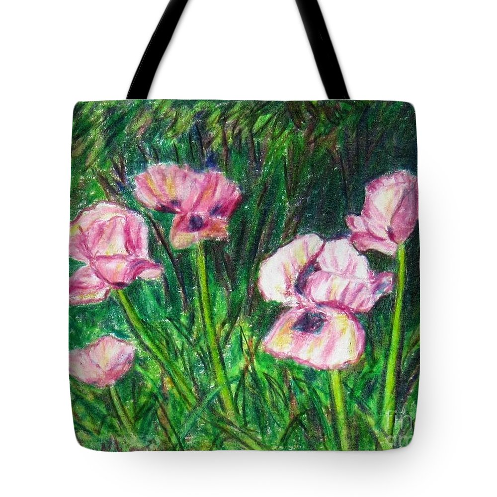 Landscape Tote Bag featuring the painting Pink Poppies by Laurie Morgan