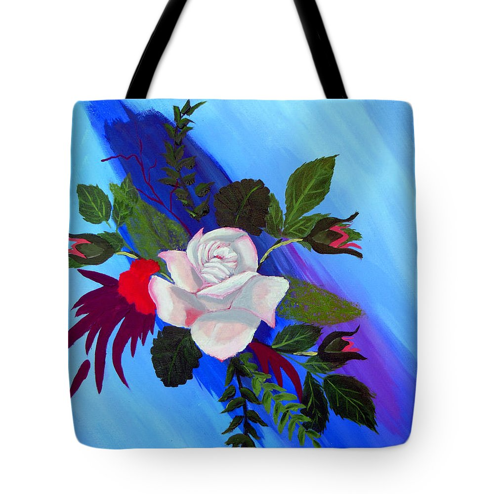 Pink Rose Tote Bag featuring the painting Pink Rose by Don Monahan