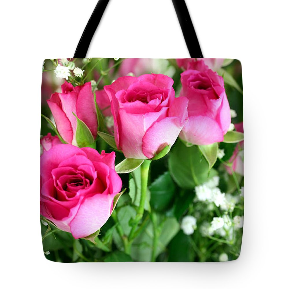 Anniversary Tote Bag featuring the photograph Pink Roses And Gypsophila Bouquet by Simon Bratt Photography LRPS