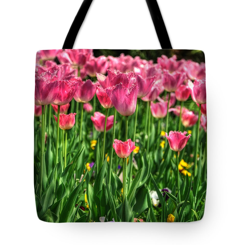 Flowers Tote Bag featuring the photograph Pink Tulip Flowers by Mats Silvan
