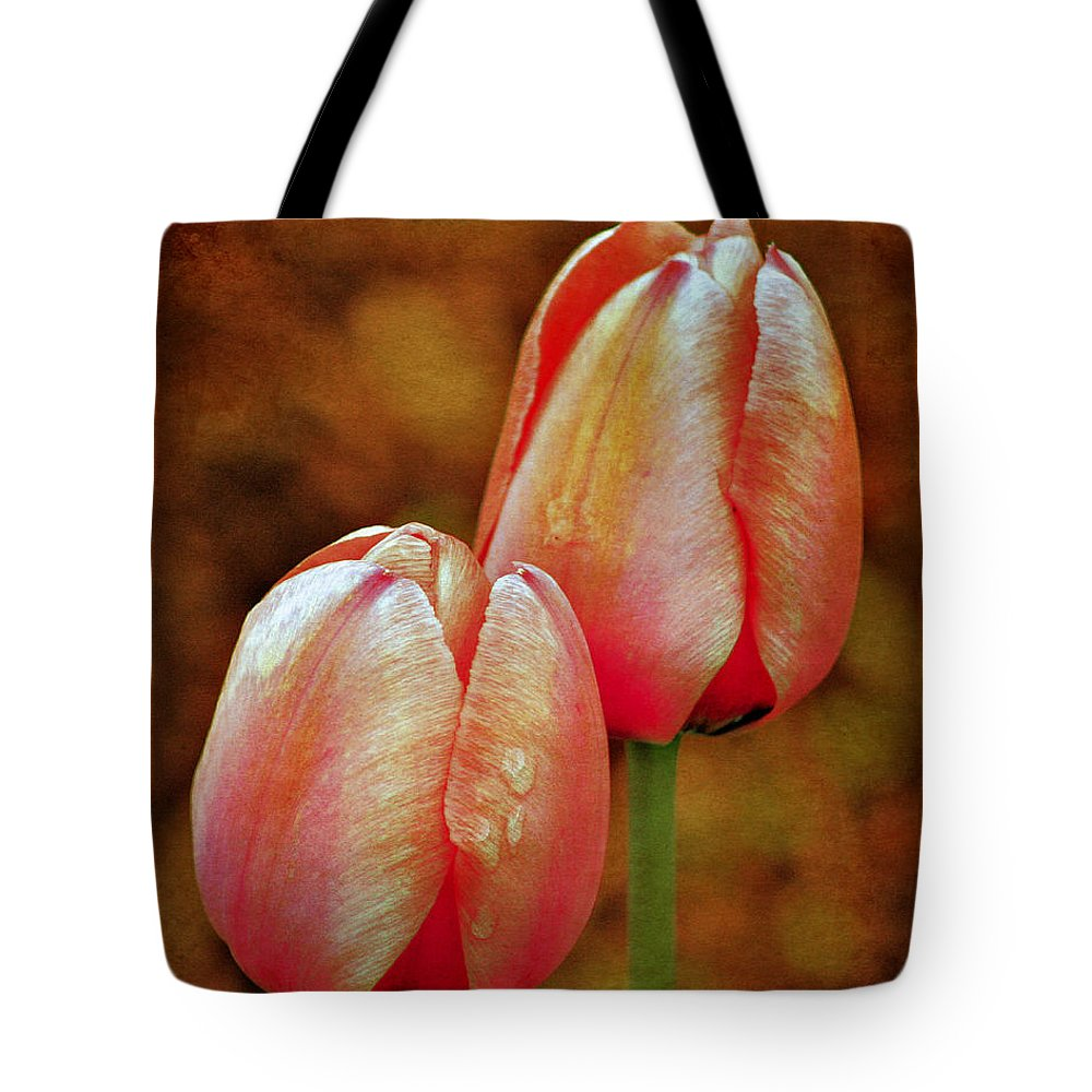 Flower Tote Bag featuring the photograph Pink Tulips by Smilin Eyes Treasures