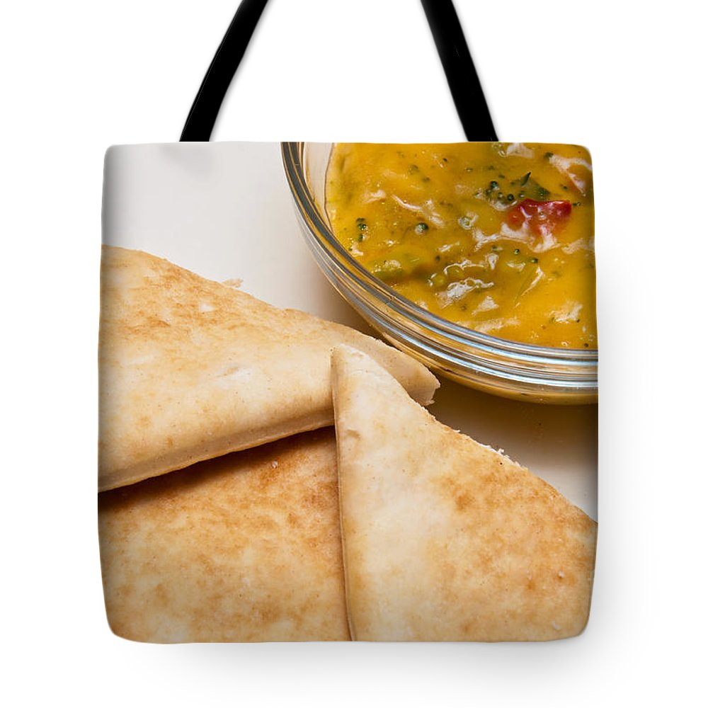 Broccoli Cheese Dip Tote Bag featuring the photograph Pita Bread With Brocoli Cheese Dip by Andee Design