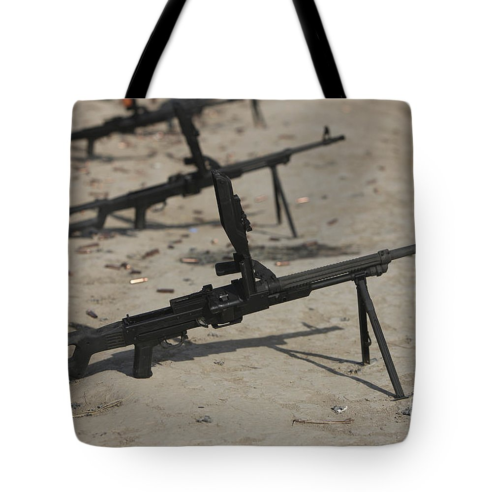 Bullet Tote Bag featuring the photograph Pk General-purpose Machine Guns Stand by Terry Moore