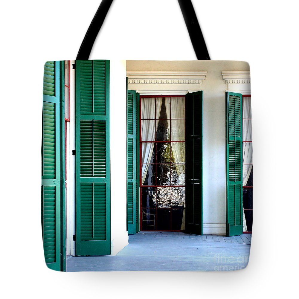 Plantation Porch Tote Bag featuring the photograph Plantation Porch by Carol Groenen
