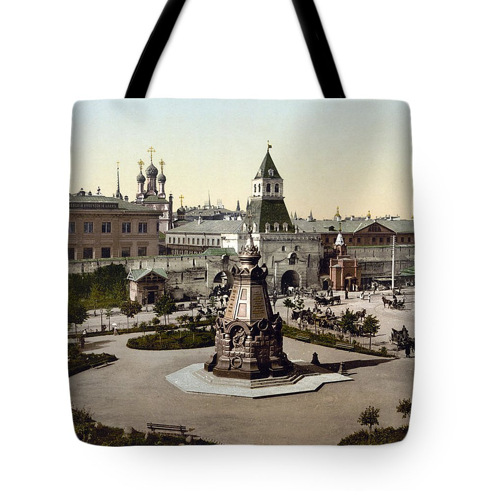 1890s Tote Bag featuring the photograph Plevna Monument, C1895 by Granger