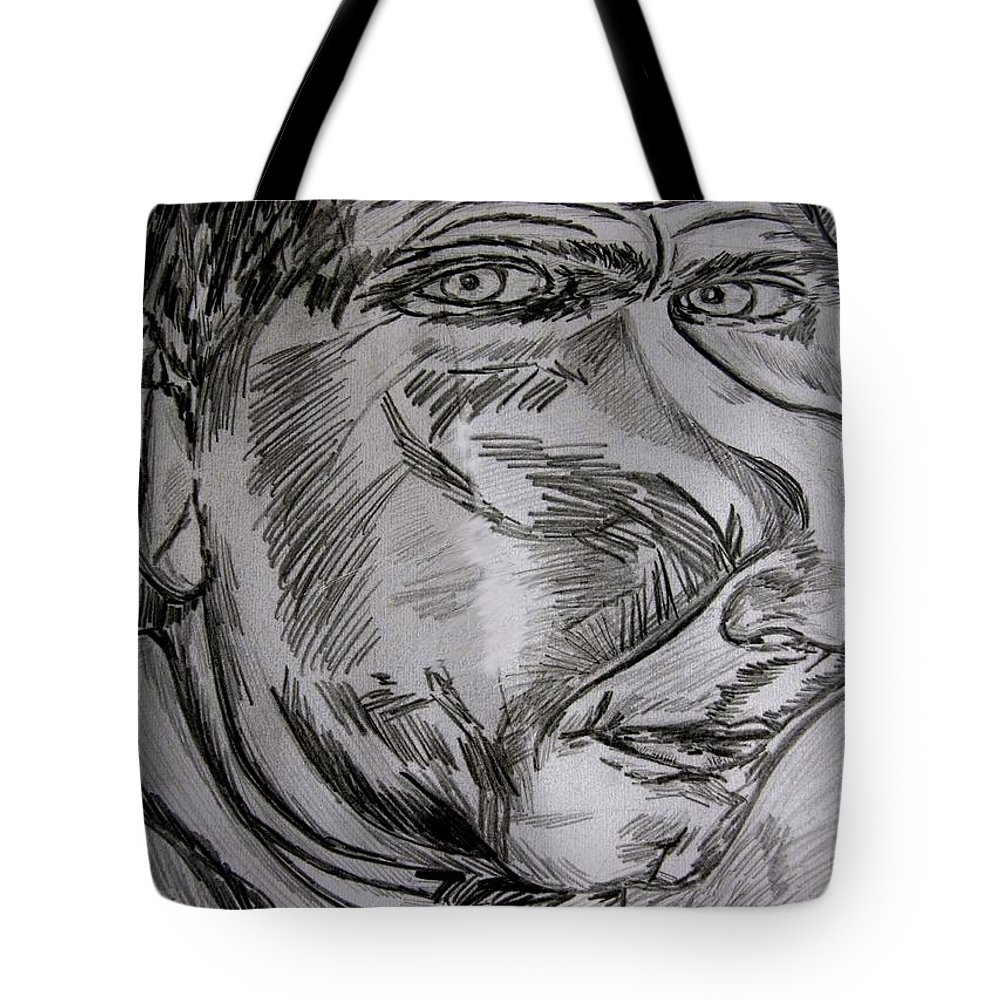Characatures Tote Bag featuring the drawing Plop by Karen Elzinga