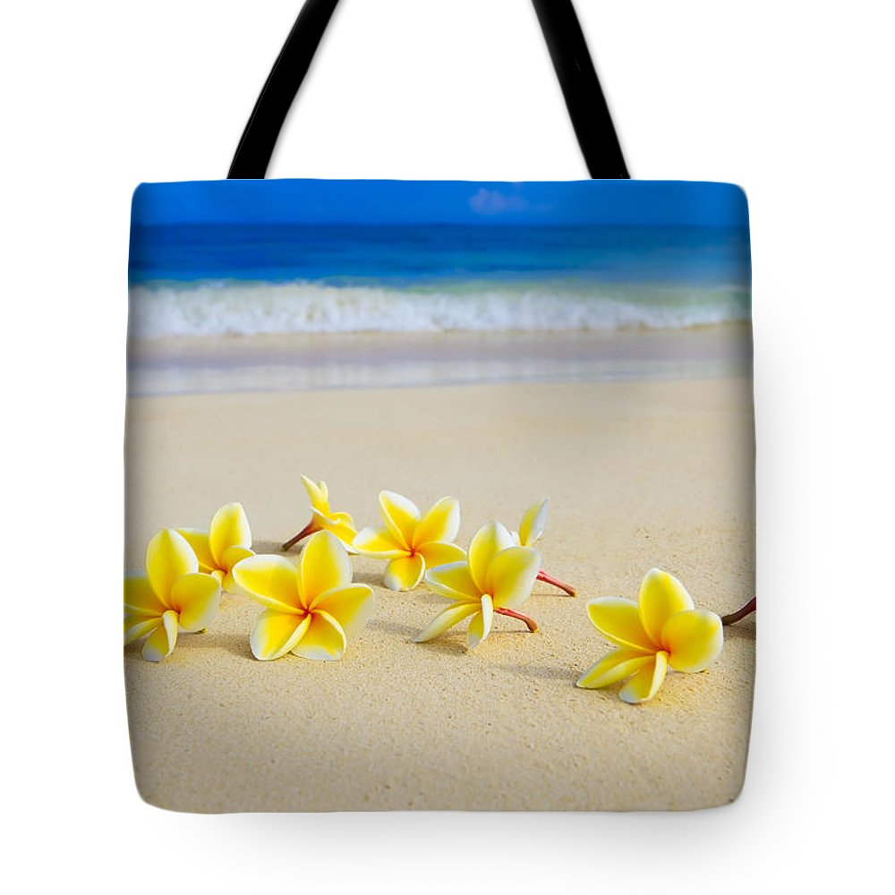 Background Tote Bag featuring the photograph Plumerias On Beach II by Tomas del Amo