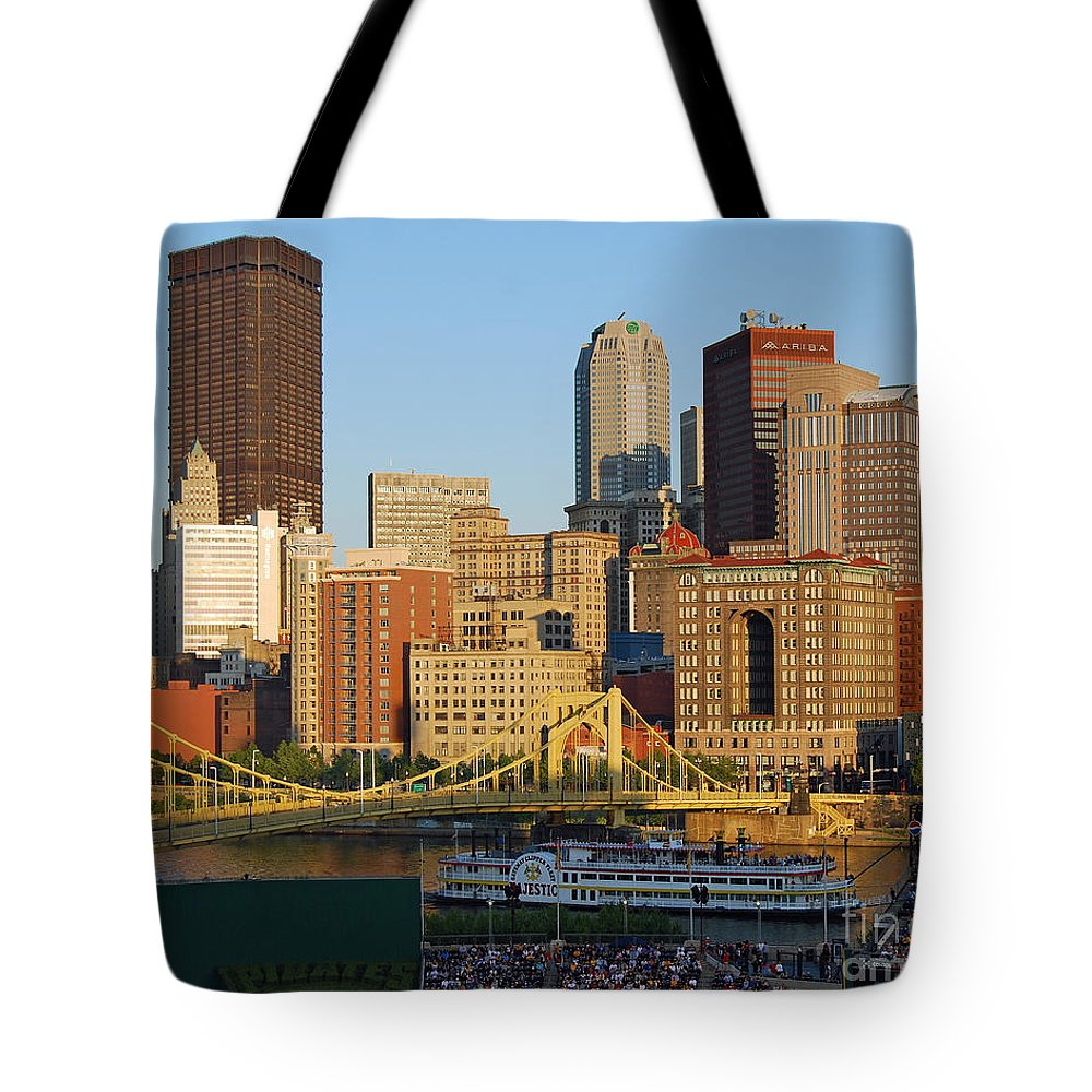 Pittsburgh Tote Bag featuring the photograph Pnc Park And River Boat by Stephen Whalen