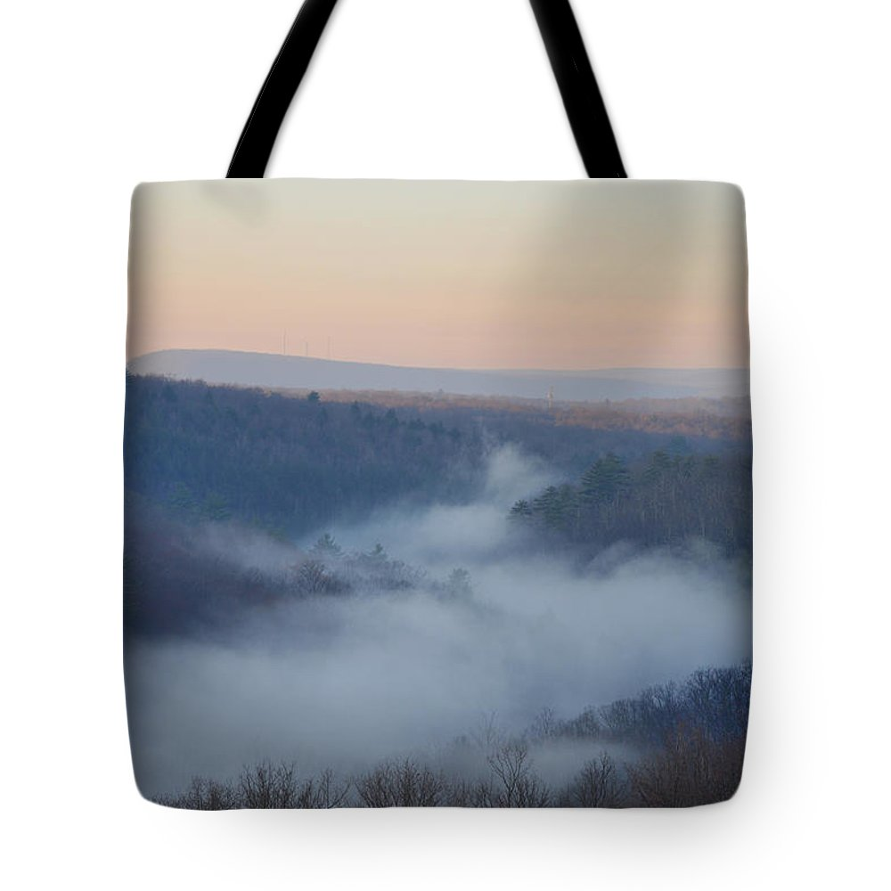 Misty Tote Bag featuring the photograph Pocono Mist by Bill Cannon