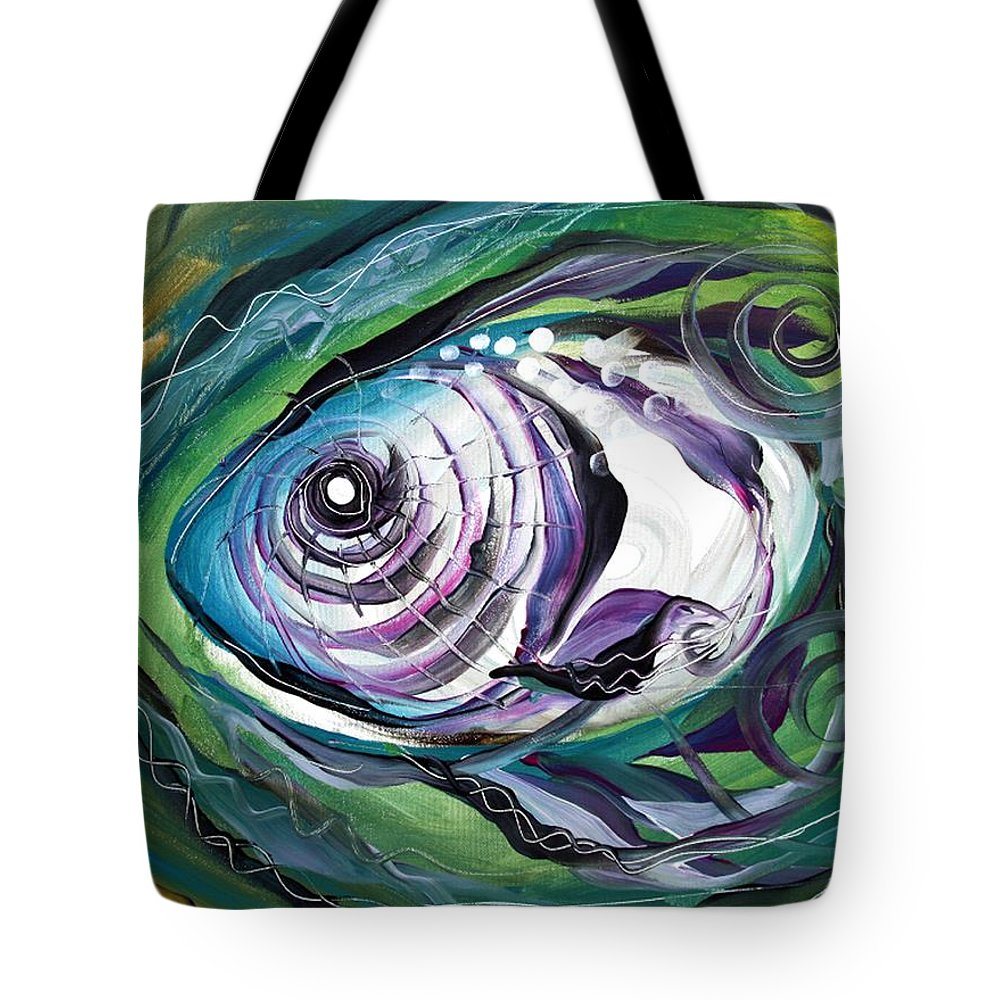 Fish Tote Bag featuring the painting Poetic Chaos by J Vincent Scarpace