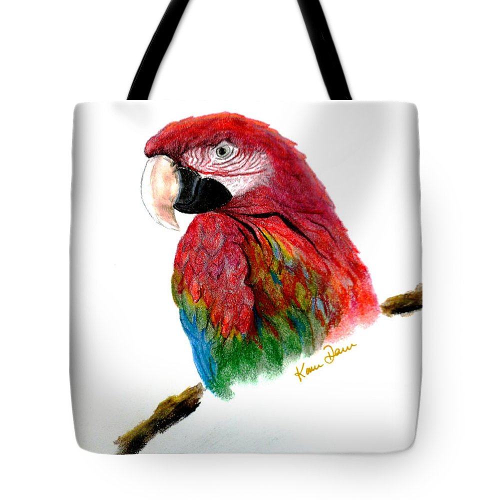 Greenwing Macaw Tote Bag featuring the pastel Polly by Karin Dawn Kelshall- Best
